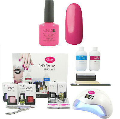 CND Shellac Hot pop Pink Nail Starter Kit - Classy Nails 36W UV Lamp Included
