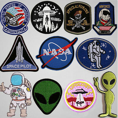 UFO Alien Embroidered Sew Iron On Patches Set Badge Bag Fabric Applique Craft