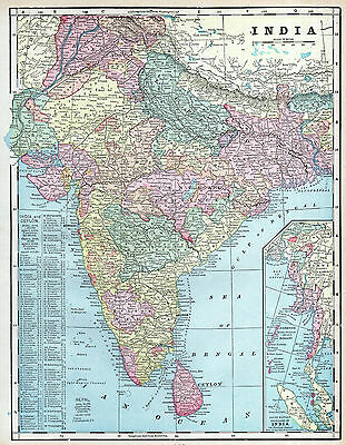 India Ceylon Sri Lanka South Asia Map Antique 1899 History Original Wall Decor