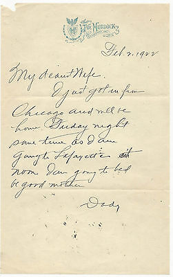 1922 Letterhead The Murdock Hotel Logansport Indiana