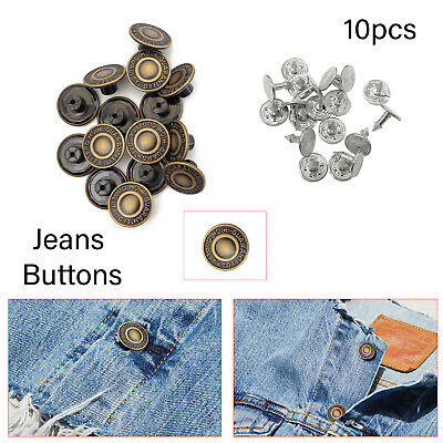 Replacement Denim Jeans Button Brass Studs Leather Jacket Trousers 10 x 17mm