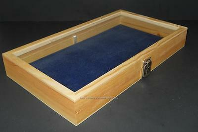 Natural Wood Glass Top Blue Pad Display Box Case Militaria Medals Jewelry Knife