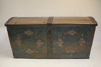 19th Century Swedish Marriage Chest In Original Paint 1835, Antique Trunk