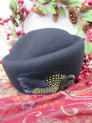 Vintage Style 1940's Forties Black 100% Wool Felt Hat With Feather & Bead Trim