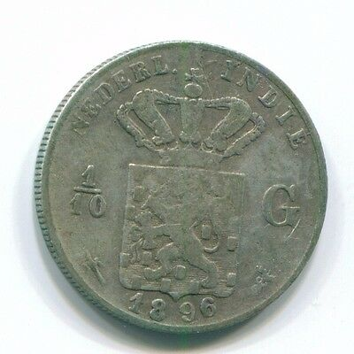 1896 Netherlands East Indies 1/10 Gulden Silver Colonial Coin Nl13199#3