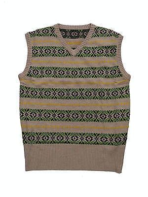 """1940s Vintage Style Wartime WW2 Country Gent Fairisle Tank Top S 38-40"""" Chest"""