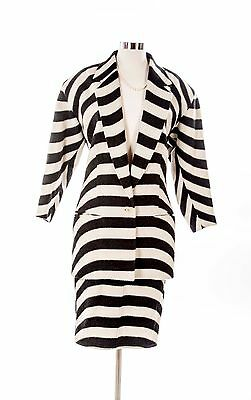 WOMEN'S Vintage GIANNI VERSACE JACKET & SKIRT Suit Black & White Zebra 4