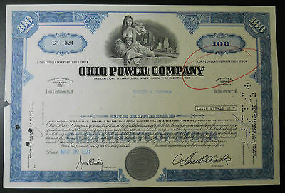 Ohio Power Company (Ohio) stock certificate