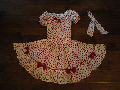 """Square Dance Skirt & Matching Blouse, 20"""" Length, Red/White               -sacur"""