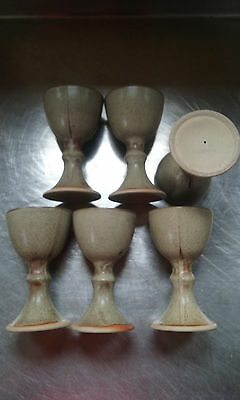 six hand potted goblets/chalices good condition