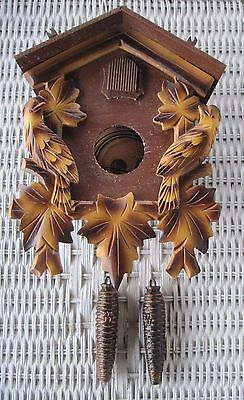 Vintage Cuckoo Clock Carved Wooden Detail & Weights ~ For Repair ~ Germany