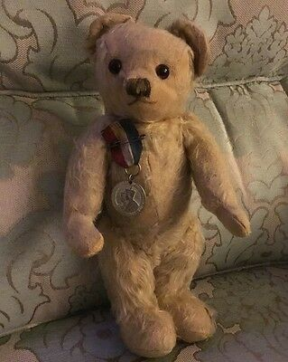 Antique vintage Merrythought Hygienic Toys, Old Mohair Teddy Bear, label, 1930s