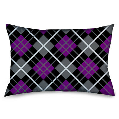 Purple Black Grey White Plaid Checker Pattern Pillow Case