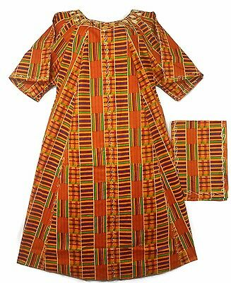 Womens Clothing African Kente Print Caftan Maxi Dress Long Dashiki Free Size