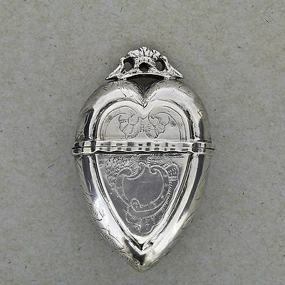 Antique Norwegian Silver Vinaigrette Heart Box Hovedvansaeg Luktevannshus - SL