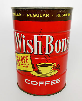 VTG Wish Bone Full Sealed 1LB Red Coffee Tin Can Manhattan Coffee Co. St. Louis