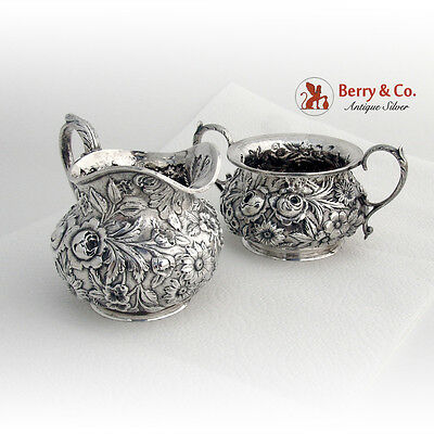 Repousse Creamer and Sugar Bowl Sterling Silver Jenkins and Jenkins 1880
