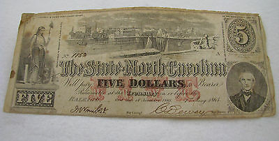 Antique 1863 Five Dollar North Carolina Note Fractional Currency