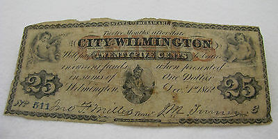 Antique 1862 25c 25 Cents City of Wilmington Delaware Note Fractional Currency