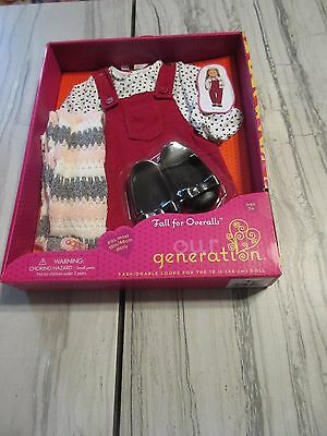 NEW! Our Generation Fall for Overalls Outfit American Doll-Fits 18 in Dolls