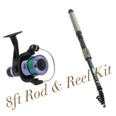 NEW Lineaeffe 'Oxigen' 8ft Mixed Carbon Telescopic Rod And Reel Combo