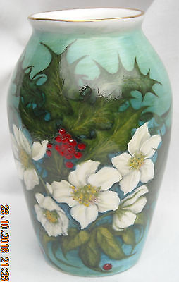 Hand Painted Bone China Collectable Vase - 'Winter Hellibore & Holly'