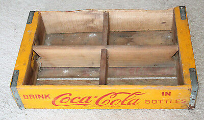 Coca Cola Bottle Crate Vintage Wooden Caddy Carrier Advertising 6 Pack Holder