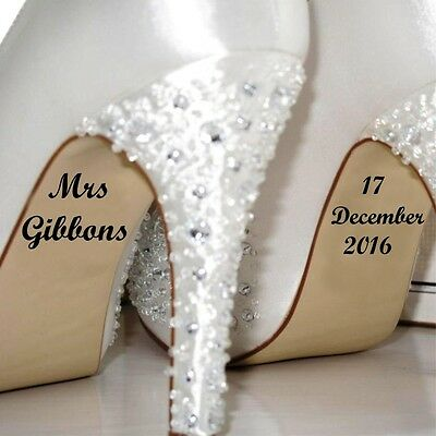 2X Personalised Shoe Text Art Stickers Wedding Valentines Day UK Seller