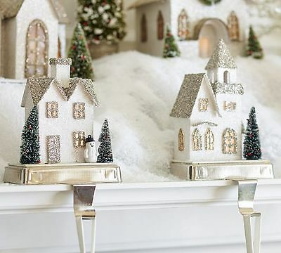 Pottery Barn LIT GERMAN GLITTER VILLAGE HOUSE STOCKING HOLDER COLONIAL  NIB
