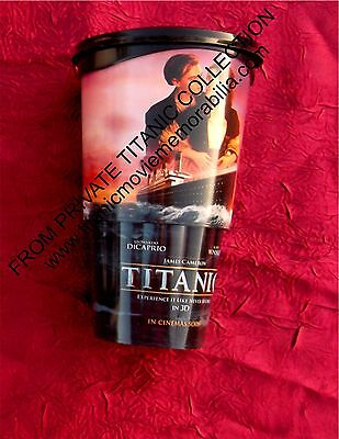 TITANIC 3D MOVIE 2012 THEATRICAL RELEASE DRINK CUP TUMBLER LID DiCAPRIO WINSLET