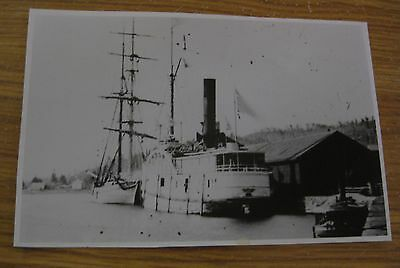 Rare Antique Duluth Minnesota Lake Superior Ship & Sailboat In Harbor Photograph