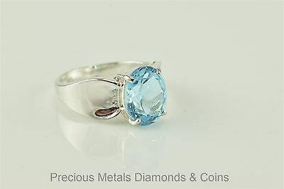Sterling Silver 4ct Oval Blue Topaz Solitaire Cocktail Ring 925 Sz: 7