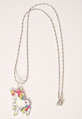 Girl's Magical Rainbow Unicorn Enamel Pendant Necklace 925 Sterling Silver Chain