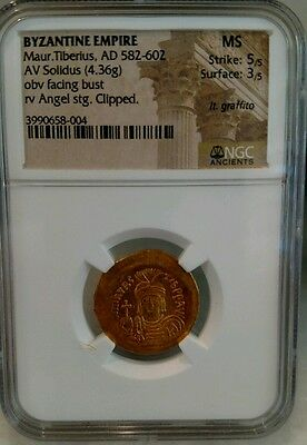 Byzantine Empire Maur. Tiberius AD 582-602 NGC MS 5/3 Ancient Gold Coin