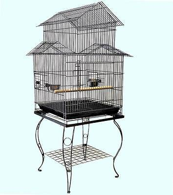 NEW Large Parrot Canary Bird Cage Aviary & Castor Stand (# Model D)