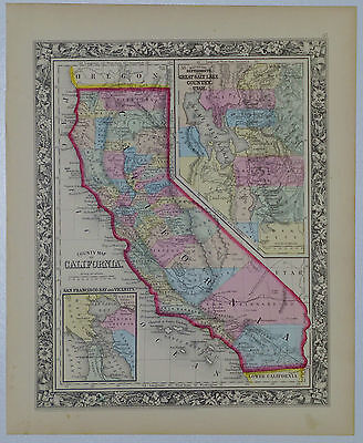 1860 Genuine Antique Map of Califonia with counties, Salt Lake area. A Mitchell