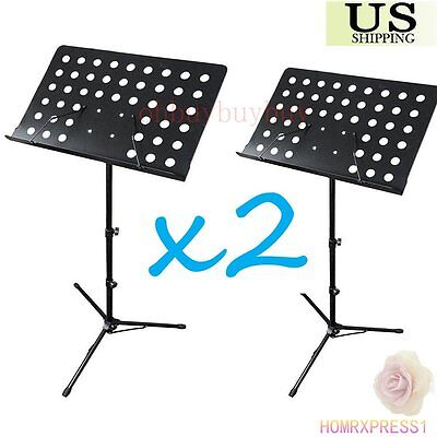 2xBlack Music Conductor Stand Adjustable Metal Sheet Tripod Holder Folding Stage