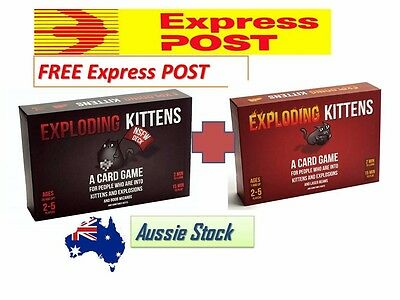 *COMBO* EXPLODING KITTENS Card Game DUAL Original + NSFW VERSIONS - AU Edition