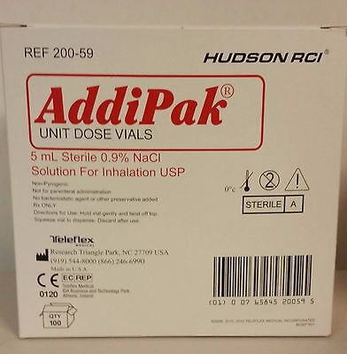 Addipak Sterile Saline Solution, 0.9% 5ML 100/BX #200-59