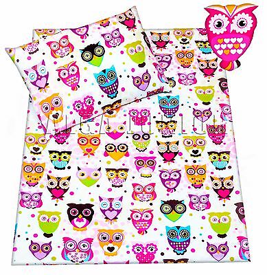 Baby toddler cot/ cot bed new set duvet cover pillowcase 100% cotton owls girls