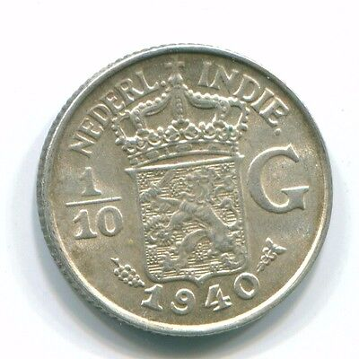 1940 Netherlands East Indies 1/10 Gulden Silver Colonial Coin Nl13536#3