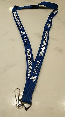 Playstation 4 Blue Lanyard Keychain, Free Shipping, New, Ps4