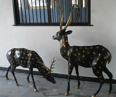 Set of 2 pcs LARGE Brass Deer - Actual Size Deer Figurines - FULLY BRASS -