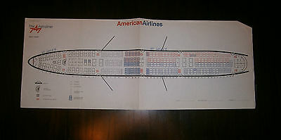 Vintage American Airlines 747 Astroliner Seat Chart