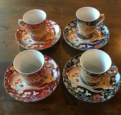 Cat Themed Cups And Saucers Set Of 4  8PiecesAllWithSameImageDifferentColorJapan