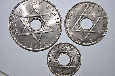 British West Africa, 1936 1/10 penny, 1936H 1/2 penny & 1936 KN 1 penny; all BU