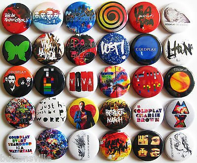 COLDPLAY SET Pins Button Badges Lot of 30