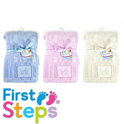 "/""First Steps/"" 100/% Pure Soft Cotton Cellular Blanket in 3 Colours 100cmx75cm"