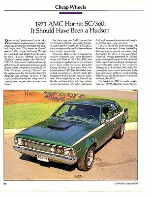 1971 Amc Hornet Sc/360 ~ Great 3-Page Article / Ad