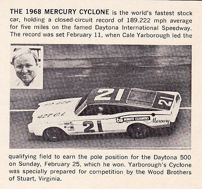 1968 Cyclone - Cale Yarborough / Fastest Stock Car  ~ Orig Smaller Article